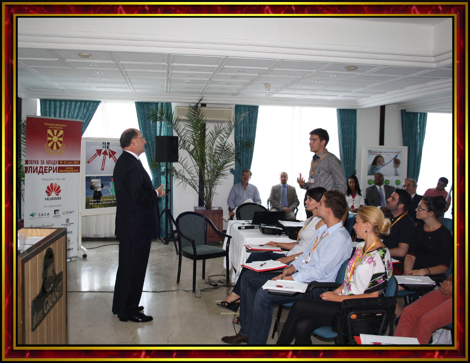 Professor Robert E. Lee Goodwin III Lecturing at the President's School for Young Leaders - Lake Ohrid, Republic of Macedonia - 19 AUG 2013